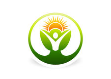 Body, plant, health, botany, natural, ecology, logo, icon, symbol. Abstract human plant  logo design. sun leaf symbol icon and healthy body fit concept Royalty Free Stock Photography
