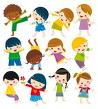 Body positions. Illustration of set of children in different position Stock Photo
