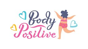 Body Positive hand drawn typography lettering poster. vector illustration