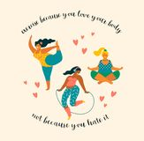 Body positive. Happy plus size girls and active lifestyle. Vector illustration vector illustration