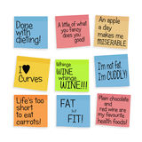 Body positive health postits for larger people. Royalty Free Stock Images