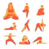 Body positive plus size woman doing yoga poses vector illustration