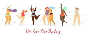 Body Positive Women Dancing on Beach Flat Vector royalty free illustration