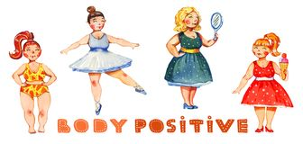 Body postive watercolor hand drawn illustration of four women with colorful lettering royalty free illustration