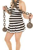 Body of a pregnant woman with chian and prison skirt Stock Images