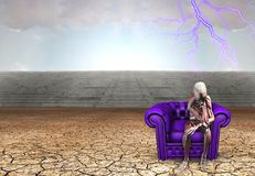 The body remembers. Body sits on purple armchair in arid land. Human elements were created with 3D software and are not from any actual human likenesses Royalty Free Stock Photography