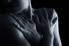 Body scape of woman neck and hand emotion artistic conversion Stock Photo