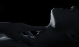 Body scape of woman neck and hand emotion artistic conversion Stock Photography