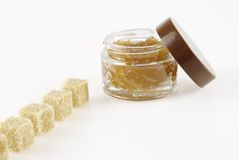 Body Scrub, row of pieces of brown sugar Royalty Free Stock Photography