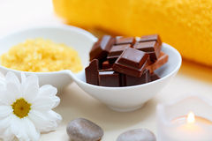 Body scrub. Salt Scrub and Chocolate Royalty Free Stock Photos