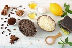 Body scrub of sea salt with lemon Stock Images