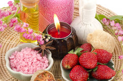 Body Scrub with Strawberry, sea salt and olive oil. (For dry skin) Stock Photos