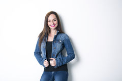 Body Shot of a Cheerful Woman in Denim jacket Stock Image