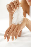 Body Skin Care. Closeup Of Woman Hands Touching Soft Hand Skin Stock Photography