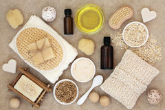 Body and Skin Care Products. On natural hemp paper background Stock Photography
