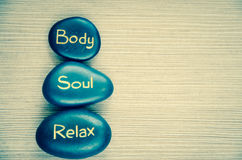 Body soul relax lava stone Stock Image