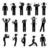 Body Stretching Exercise Stick Figure Pictogram Ic. A set of human pictogram representing a collection of body stretching posture and exercise Stock Photography
