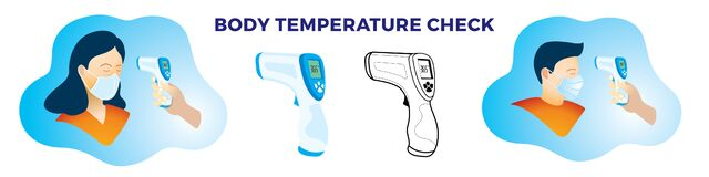 Free Body Temperature Check With Non-contact Infrared Thermometer Scan For Covid-19 Stock Images - 182016364