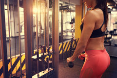 Body training on lat machine in fitness club, concept Royalty Free Stock Images