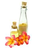 Body treatment items and tropical flowers Stock Photography