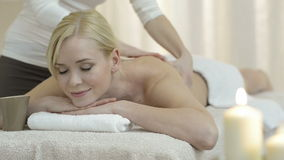 Body treatment with oil stock video footage