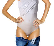 Body in underwear and jeans Stock Photos