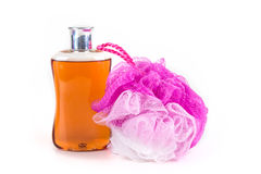 Body wash and loofah Royalty Free Stock Images