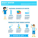 Body water drink infographics health people diet lifestyle concept brochure infochart vector illustration Royalty Free Stock Photo