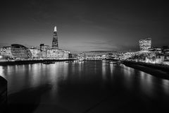 Body of water in Front of a City Grayscale Photography Royalty Free Stock Photography
