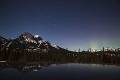 Body of Water in Front of Mountain during Night Time Stock Images
