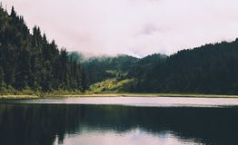 Body of Water and Mountain Photography royalty free stock photo