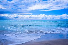 Body of Water Under Blue and White Skies Stock Photo