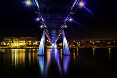 Body Of Water Under A Bridge During Nighttime royalty free stock image