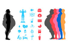 At body, weight loss, overweight silhouette illustration Stock Images