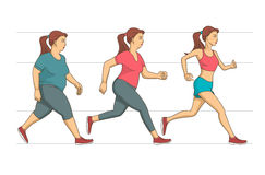 Body weight loss. Young woman making her run workout to lose an overweight of her body. Stages of her body conditions are shown in progress Royalty Free Stock Photo