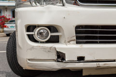 Body of white van get damaged by accident Stock Image