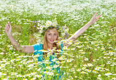 Body of the woman in a blue t-shirt in the field of camomiles Stock Image