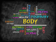 Body  word cloud, fitness, sport, health concept on chalkboard.  Stock Image