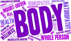 Body Word Cloud. Healing Body word cloud on a white background Stock Photography