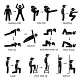 Body Workout Exercise Fitness Training (Set 1) Clipart Royalty Free Stock Photography