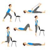 Body workout exercise fitness training set. Knee exercises Stock Image