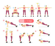 Body workout set. Fat woman doing fitness exercises as squats, plank, deadlift and others. Trying to be fit Stock Photos