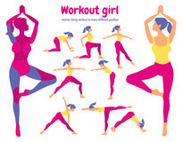 Body workout set. Pack of body parts. Woman doing fitness Royalty Free Stock Image