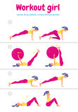 Body workout set. Woman doing fitness and yoga exercises Royalty Free Stock Photos