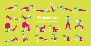 Body workout set. Woman doing fitness and yoga exercises Stock Photos