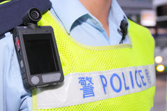 Body Worn Camera. Hanging on the uniform Royalty Free Stock Photos