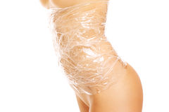 Body wraped with foil Royalty Free Stock Photography