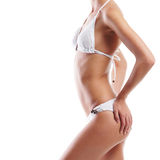 Body of a young and fit woman in white lingerie Royalty Free Stock Photo