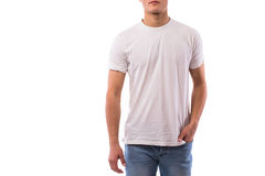 Body of young man on white shirt. Close up of Body of young man on white shirt stock image