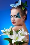 bodyart κορίτσι πεταλούδων Στοκ φωτογραφία με δικαίωμα ελεύθερης χρήσης